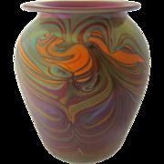 1972 Lundberg Studios Vase Iridescent Swirls by Mark Cantor