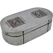 Cartier Sterling Double Stamp Box w/ 2 Enamel Stamps