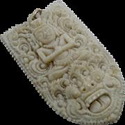 Vintage Bali Carved Bone Barong & Buddha Pendant