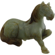 """Chinese Carved Soapstone Horse Figure Celadon Green 6"""""""