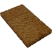 Ca 1900 Chinese Carved Sandalwood Calling Card Case