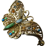 1960s Alice Caviness Gilded Sterling Enamel Butterfly Pin