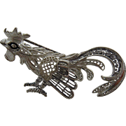 Alice Caviness Sterling Filigree Rooster Pin Brooch Germany
