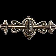 Ca 1880 Victorian Etruscan 12K Pin w/Seed Pearls Enamel