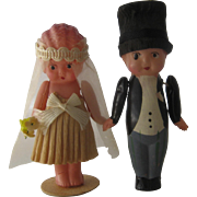 1930s Celluloid Bride & Groom Cake Toppers in Box