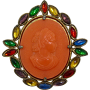 "Mid 1900s Faux Coral Celluloid Cameo w/ Multicolor ""Stones"" Frame"