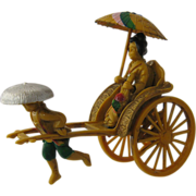 1920s Japan Celluloid Rickshaw Figure Hand Painted