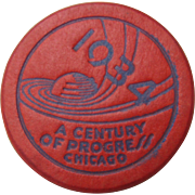1934 Chicago World's Fair Red Token or Poker Chip