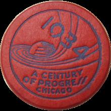 1934 Chicago World's Fair Red Token or Poker Chip