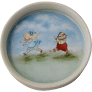 Ca 1930 Child's Plate Juvenile Bowl Artist Painted Goldilocks & Bear