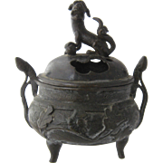 Ca 1900  Chinese Bronze Censer Fu Dog Finial