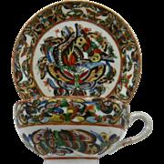 Chinese Export Porcelain HP 1000 Butterflies Cup & Saucer Ca 1890s