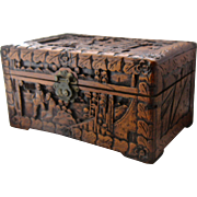 Chinese Carved Camphor Wood Chest Box w/ Brass Mounts 12""