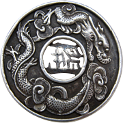 """Sterling Chinese Dragons Pierced Buckle for 1 1/2"""" Belt Creative Arts Casting"""