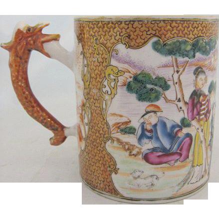 Quinlong (1736-95) Chinese Export Rose Mandarin Tankard Mug