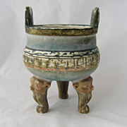 Chinese Archaic Form Ceramic Tripod Censor Figural Head Feet