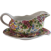 Mid 1900s Royal Winton Cheadle Chintz Sauce or Gravy Boat w/ Undertray