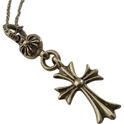 Chrome Hearts Sterling Cross Pendant Ball Necklace Gothic Inspired 20""