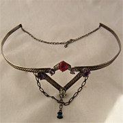 Vintage Sterling  Silver Circlet Diadem w/ Gem Stones Tribal