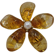 Large GF Flower Pin w/ Citrine Petals Cultured Pearl Center