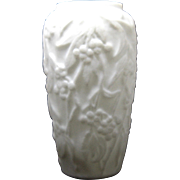 "Ca 1930 Consolidated Martele ""Bittersweet"" Vase Embossed Berries White"