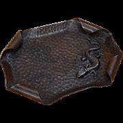 Arts & Crafts Hammered Copper Tray w/ Lizard Salamander