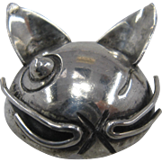 1940s Hector Aguilar for Coro Sterling Winking Cat Pin