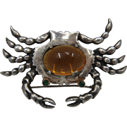 Artist Made Cast Sterling Crab Pin Amber Glass Belly