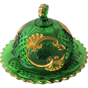 1897 Croesus  Butter Dish Emerald Green Gold Riverside EAPG