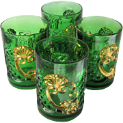 Set 4 1897 Croesus Tumblers Emerald Green Gold Riverside EAPG