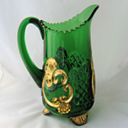 1897 Croesus Water Pitcher Emerald Green Gold Riverside EAPG