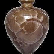 1980s Crystalline Glaze Vase Louise Reding Milk Chocolate/Latte