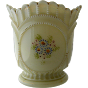 Ca 1900 Custard Glass Enameled & Gilded Spooner