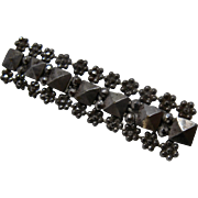 Victorian Cut Steel Bar PIn Flowers and Faceted Squares
