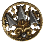 Victorian Cut Steel Brass Openwork Button Pin ca 1870s