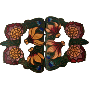 Ca 1930 Czechoslovakia Deco Enamel Flower Buckle