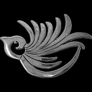 Mid Century Modernist Sterling Bird Pin ARJ Mexico