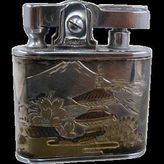 1950s Japan Sterling Damascene Cigarette Lighter Automatic Prince