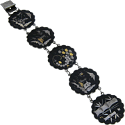 1950s Amita Japan Damascene Link Bracelet Silver Plated