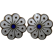 Mid 1900s David Andersen Vermeil Enamel Clip Earrings Flower