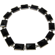 Ca 1920 CRR Art Deco Sterling Silver Black Glass Bracelet