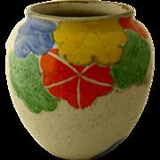 1930s Art Deco Ceramic Vase w/ Nasturtiums