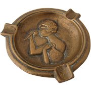 Deco Solid Bronze Ashtray Woman Sniffing Rose Relief