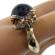 Big Graphic 14K Deer Stag Ring Sapphires Rubies Diamonds Sz 10