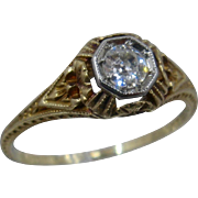 Art Deco Dee 14K Diamond Filigree Foliage Ring Sz 7 3/4