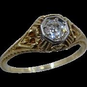 Art Deco Dee 14K Diamond Filigree Foliage Ring Sz 7 3/4
