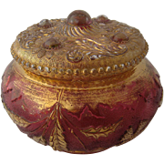 1899 Delaware Dresser Box or Jar Rose Stained Gilt
