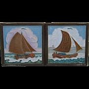 Two Delft Porcelyne Fles Polychrome Tiles Sailboats mid 1900s