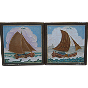 Two Delft Porcelyne Fles Polychrome Tiles Sailboats mid 1900s