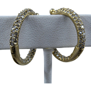 Diamond Studded 14K Gold Hoop Earrings Hinged